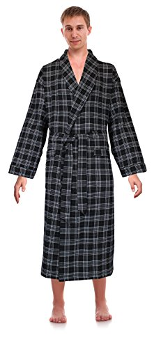 Robes King Classical Sleepwear Men's 100% Cotton Flannel Shawl Collar Robe, Size 2X Extra Large 3X Extra Large Black