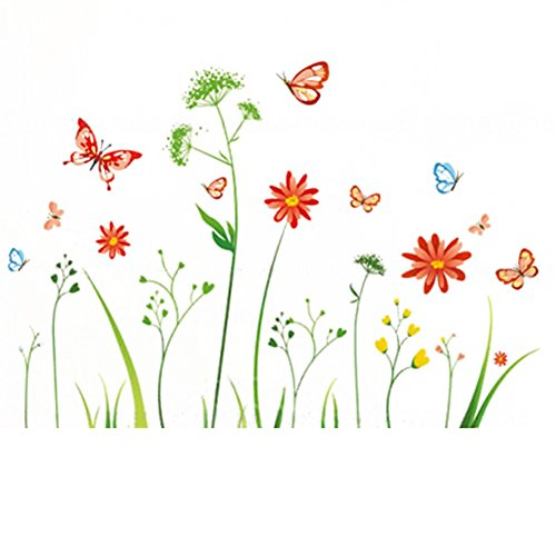 Colorful Flower Plant Butterfly Wall Sticker Removable DIY Home Decoration Bedroom Living Room Wall Decal