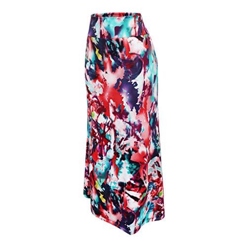 Benficial Women Daily Summer Bohemia High Waist Print Beach Wrap Maxi Long Skirt 2019 - Ruby Print Tunic