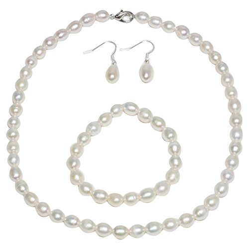 Rhodium Plated 3pc Cultured Freshwater White Pearl Necklace Bracelet Earring (Cultured Pearl Gemstone Bracelet)