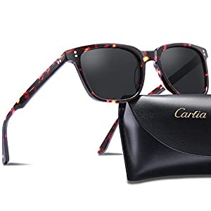Carfia Chic Retro Polarized Sunglasses for Women Men, 100% UV400 Protection