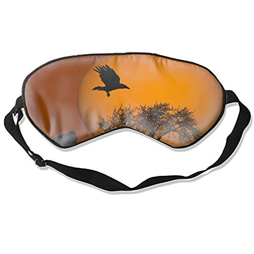 Halloween Raven Silhouette Sleeping Mask Silk Eye Mask With Adjustable Straps Out for Sleep Travel Nap ()