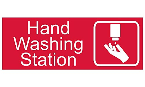 (New Plastic Hand Washing Station Sign, 8 X 3 in with English Text and Symbol, White on Red for Men, Women, Unisex)