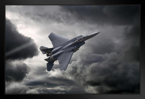 F15 Boeing Eagle - F15 Eagle Tactical Fighter Aircraft Flying Through Storm Photo Art Print Framed Poster 20x14 inch