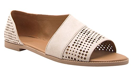 Cambridge Select Womens Open Toe Perforated Laser Cutout Flat Sandal Beige Pu uzeL8PPwt