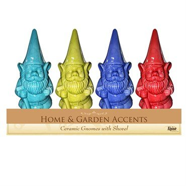 (Alpine Corporation Ceramic Gnome Holding Shovel Statue - Pack of 4,  11 Inch Tall )