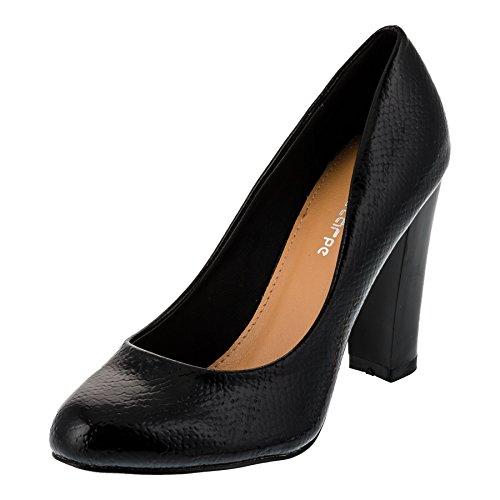 Le Scarpe Damen Pumps High Heels Blockabsatz Party Schuhe in Vielen Farben M300sw2 Schwarz Glanz Gr.40