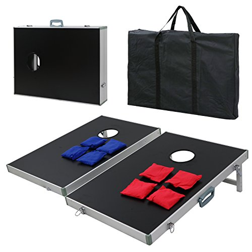 ZENSTYLE Portable 3ft x 2ft Bean Bag Cornhole Toss Game Set Aluminum Frame Regulation Size Cornhole Boards w/ 8 Bean Bags and Carrying Case Ideal Toss Game Choice for Outdoor and Indoor Activities