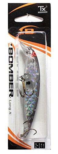 Bomber Long A Fishing Lure, Silver Prism/Black Back, 3 1/2-Inch, 3/8-Ounce