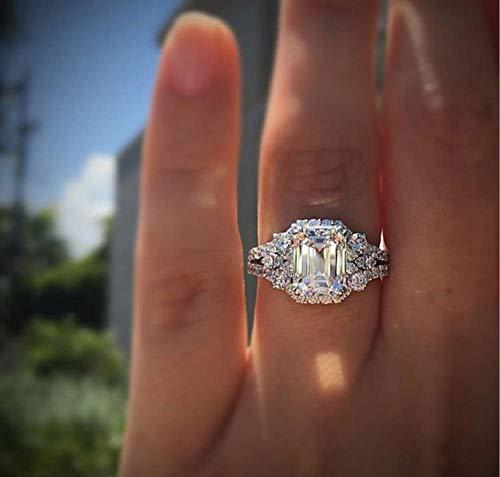 Duan New Princess Square Simulation Diamond Ring