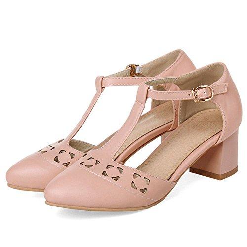 COOLCEPT Zapato Mujer Moda Comodo Hollow Correa En T Medio Chunky Tacon Sandalias for Vestir Trabajo Oficina Rosado