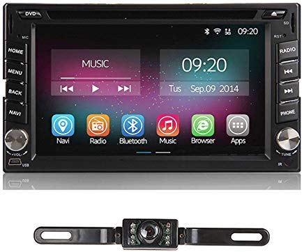 Car Stereo with Backup Camera 6.2 inch Car Radio Android 7.1 Car DVD Player Double 2 Din Touch Screen Built-in Bluetooth GPS Navigation for Car