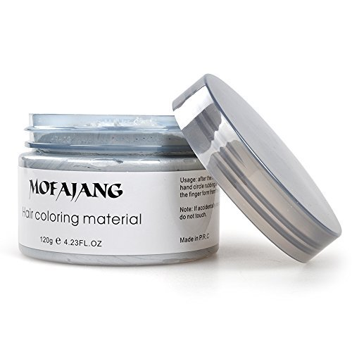 Arsty Temporary Hair Color Wax,4.23 oz Professional Hair Dye for Men Women,Silvery Grey Hair Pomades, Natural Matte Hairstyle for Party, Cosplay (gray)]()