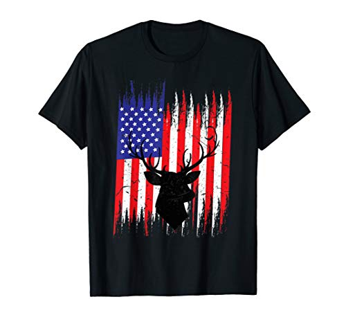 Big Rack Deer Hunting Shirt | USA Flag Hunter Tee Gift