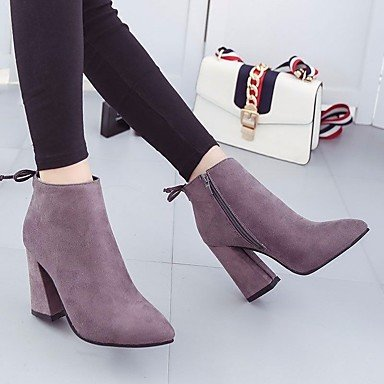Feather Grey Women's Wedge PU Boots Winter Mary Heel Casual Jane 8v8zq