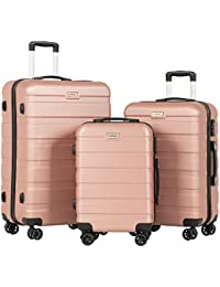 """Travel 3 Pieces ABS Luggage Sets TSA Lightweight Durable Spinner Suitcase Aluminum Retractable Handle 20"""" 24"""" 28"""", 3PCS Rose Gold"""