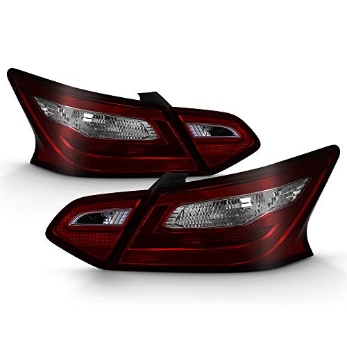 (VIPMOTOZ Smoke Red Lens OE-Style 4-Piece Tail Light Lamp Complete Assembly For 2016-2018 Nissan Altima, Driver & Passenger Side)