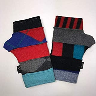 product image for Baabaazuzu Blue & Red Striped Patterned Women's Upcycled Wool Fingerless Gloves (Made in USA, Fleece-Lined)