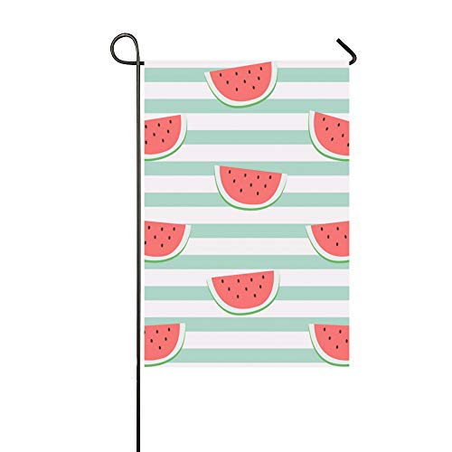 YUMOING Home Decorative Outdoor Double Sided Fashion Retro Fruit Watermelon Line Garden Flag House Yard Flag Garden Yard Decorations Seasonal Welcome Outdoor Flag 12x18in Spring Summer Gift