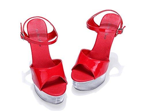 Scarpe Cristallo Lh Rosso Qualità Sandali Yu Di Tacchi Di Con Donne Cinghie Piattaforma Impermeabile wArt8qAx