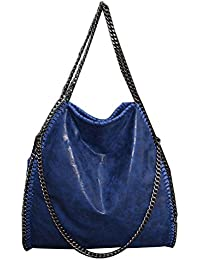 Women Chain Paillette Large Casual Tote PU Leather Shoulder Bag