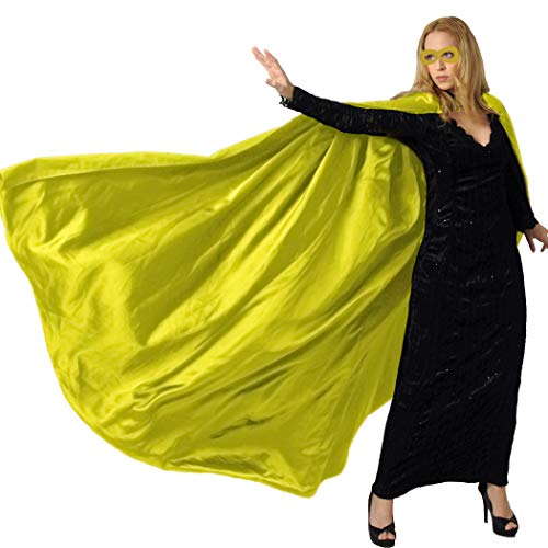 Men & Women's Superhero-Cape or Cloak with Mask for Adults Party Dress up Costumes (Yellow)