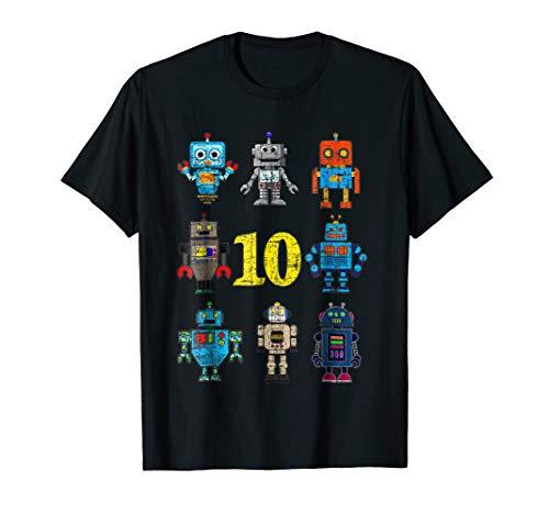 9ae1c1f722315 Kids Robot 10th Birthday t Shirts - Retro Robotics with numb