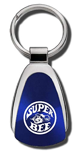 The Car Guy Superstore Super Bee Teardrop Shaped Keychain FOB Ring Lanyard Blue
