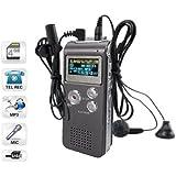 8GB LCD 650Hr Audio Numerique Enregistreur Dictaphone MP3 Rechargeable Espion (gris)