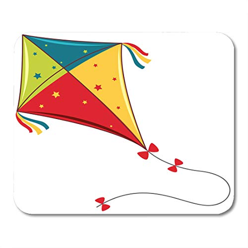 Kite Clipart - Semtomn Mouse Pad Flying Colorful Kite on Clipart Clip White Accessory Activity Mousepad 9.8