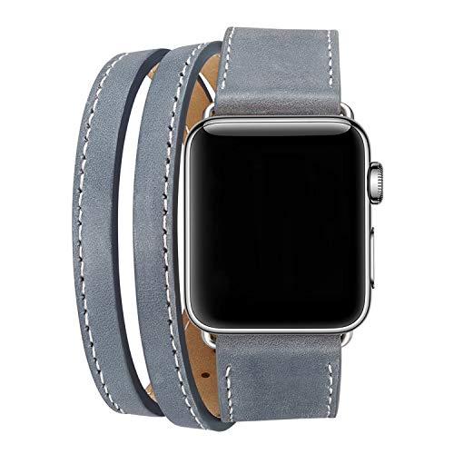 Baokai Leather Band Compatible with Apple Watch 38MM, Double Strap Genuine Leather Watch Band Replacement Wrist Bands Stainless Metal Clasp Compatible with Apple Watch Series 3 2 1 Sports Edition