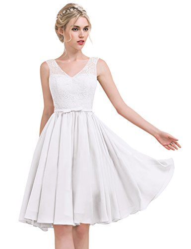 mit Weiß Erosebridal Knielang Linie Schleife Ausschnitt Princess V Lace Chiffon Brautjungfernkleid nBnTHCqwx