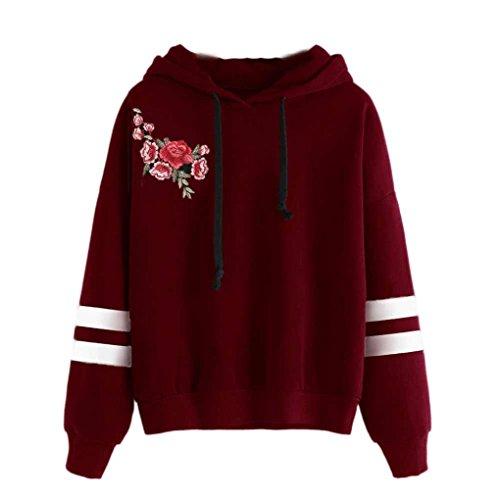 Han Shi Sweatshirt, Women Fashion Long Sleeve Hoodie Jumper Pullover Coat Loose T-Shirt (XL, Wine) ()