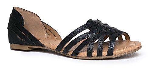 - J. Adams Wendi Woven Flat - Comfortable Casual Strappy Peep Toe D'Orsay Sandal