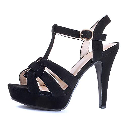 Guilty Shoes Womens Platform Ankle Strap High Heel - Open Toe Sandal Pump - Formal Party Chunky Dress Heel Sandals (6 M US, Blackv4 Nub) Cute High Heel Formal Shoes