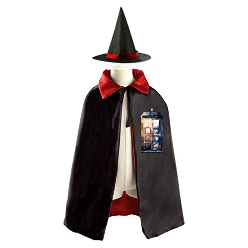 Halloween Doctor Who Wizard Witch Kids Childrens' Cape With Hat Party Costume Cloak Red