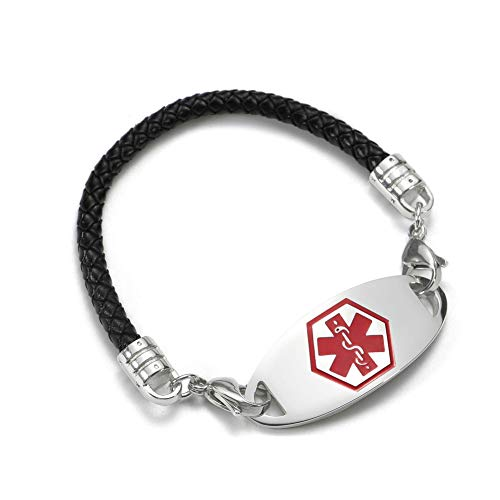Medical Alert ID Bracelet Black Bolo Cord and Stainless Steel Tag Free Engraving 7.5 inch ()