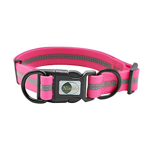 NIMBLE Dog Collar Waterproof Pet Collars Anti-Odor Durable Adjustable PVC & Polyester Soft with Reflective Cloth Stripe…