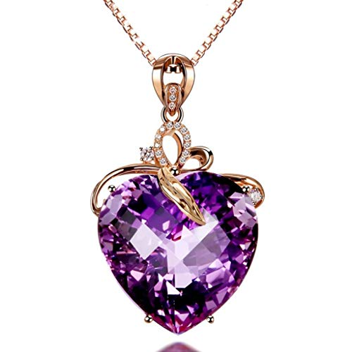 ZHX Heart Shaped Amethyst Pendant 18 Karat Gold Colored gem Natural Amethyst Necklace Multi-Color one Size