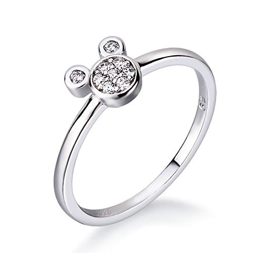 LGSY Cute Mouse Statement Rings for Women Grils Sterling Silver Fashion Jewelry, Cubic Zirconia Rings for Adorable Gift