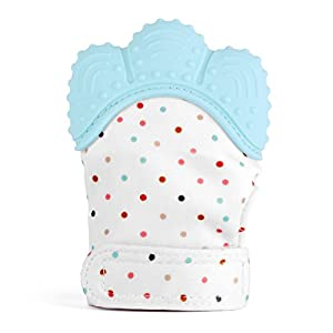 Zooawa Baby Teething Mitten, Soft Food-Grade Silicone Teether Handy Teething Mitt Toy for Self-Soothing, BPA-Free, for 3¨C18 Month Infants, Light Blue
