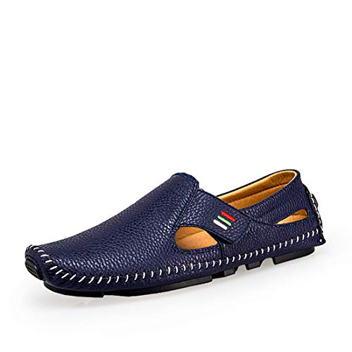 Ceyue Men's Driving Shoes Penny Loafers Casual Leather Stitched Loafer Shoes(Blue 43)