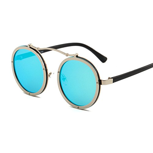 round sunglass exquisite glasses men's single beam sunglasses,Silver frame ice blue (India Case Sunglasses Online)