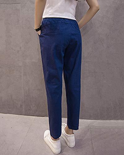 Slim Di Fit Cintura Navy Forti Casual Allentata Yonglan Pantaloni Harem Pantaloni Lino Donna Elastica Taglie Eleganti xzZqxvOB8n