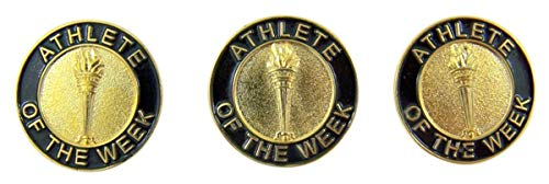 Althete of The Week Award Enamel Lapel Pins, 7/8 Inch, Pack of 3