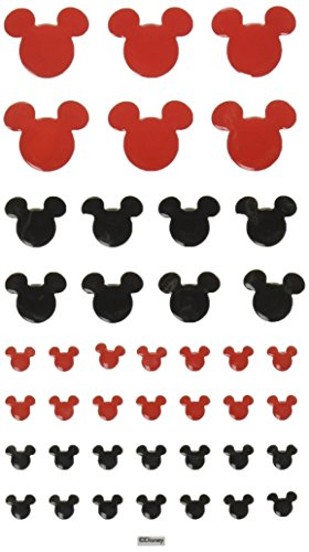 Disney Self-Adhesive Epoxy Tiles, Mickey Icon/Red and Black ()