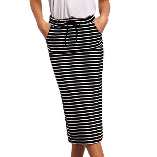 Satin Stripe Skirt - Stripe Short Skirt for Women Knee Length Casual Striped Skirts Summer Elastic