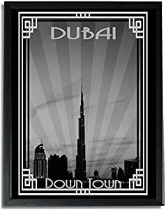 Dubai Skyline Down Town - Black And White With Silver Border F09-nm (a5) - Framed