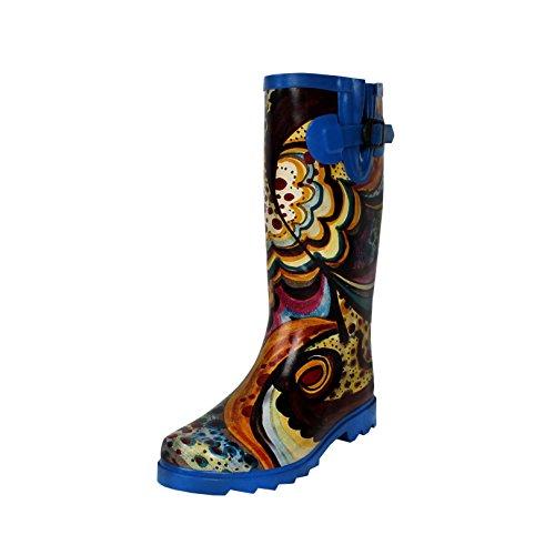 Blvd West Monet Mid Women's Rubber Rainboots Waterproof Calf Blue dC7Crwq
