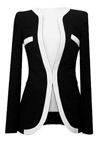 Price comparison product image xiaokong Women's Short Fitted Sexy Fashion 1 Button Coat Jacket Black XL